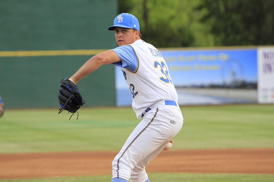 Paul Richan pitching for the Myrtle Beach Pelicans.