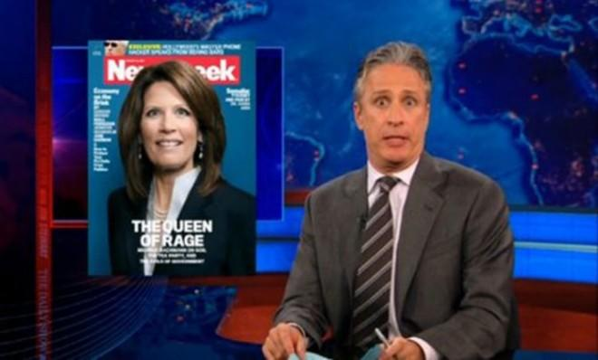 Jon Stewart doing his best Michele Bachmann impersonation.