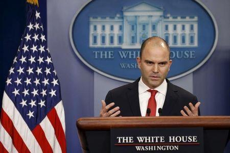 Ben Rhodes speaks about the Obama visit to Cuba at the White House in  Washington