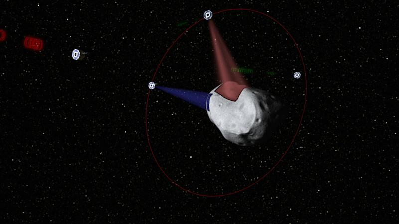 This computer-generated image provided by Planetary Resources, a group of high-tech tycoons that wants to mine nearby asteroids, shows a conceptual rendering of satellites prospecting a water-rich, near-Earth asteroid. The group's mega-million dollar plan is to use commercially built robotic ships to squeeze rocket fuel and valuable minerals like platinum and gold out of the lifeless rocks that routinely whiz by Earth. One of the company founders predicts they could have their version of a space-based gas station up and running by 2020. (AP Photo/Planetary Resources)