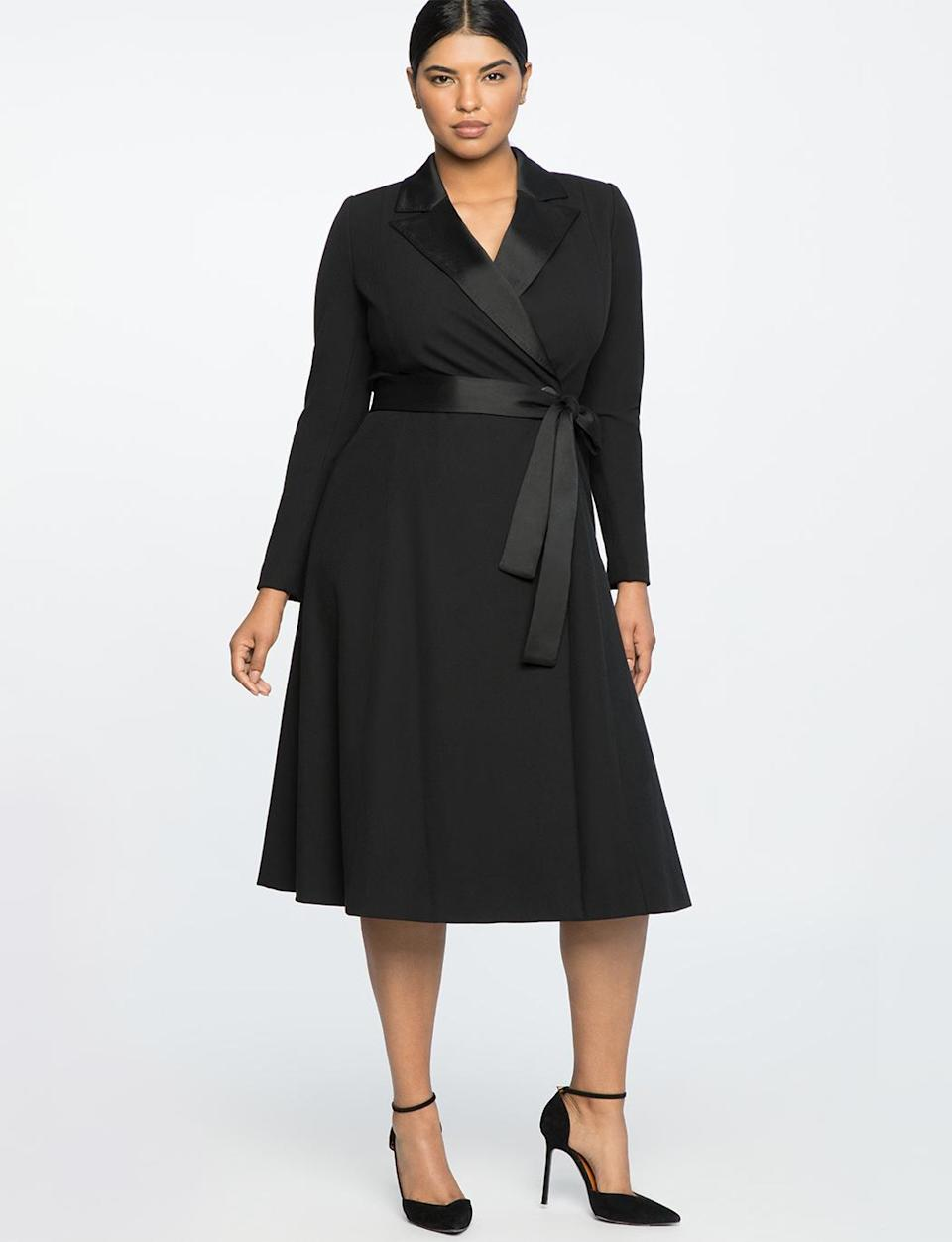 """<p>If you've always had trouble finding an evening coat that was sleek and elegant for the holidays but wasn't another trench or wool coat, this version is lighter and still sophisticated, with its satin lapels and tie belt. <br>Jason Wu x Eloquii belted coat, $260, <a rel=""""nofollow noopener"""" href=""""https://fave.co/2zkyJQz"""" target=""""_blank"""" data-ylk=""""slk:eloquii.com"""" class=""""link rapid-noclick-resp"""">eloquii.com</a> </p>"""