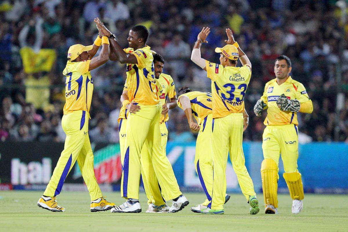 Jason Holder celebrates wicket of Ajinkya Rahane during match 61 of the Pepsi Indian Premier League ( IPL) 2013  between The Rajasthan Royals and the Chennai Super Kings held at the Sawai Mansingh Stadium in Jaipur on the 12th May 2013. (BCCI)