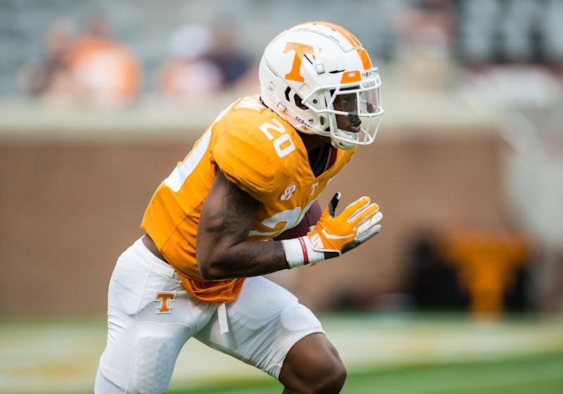 KNOXVILLE, TN - APRIL 13: Tennessee Volunteers defensive back Bryce Thompson (20) returns a kickoff during the Orange and White spring game on April 13, 2019, at Neyland Stadium in Knoxville, TN. (Photo by Bryan Lynn/Icon Sportswire via Getty Images)