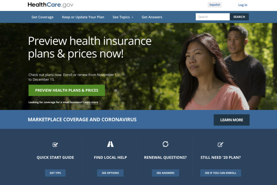 "FILE - This image provided by U.S. Centers for Medicare & Medicaid Service shows the website for HealthCare.gov. Government figures out Friday, Dec. 18 show sign-ups for ""Obamacare"" health insurance plans are trending more than 6% higher amid surging coronavirus cases and deepening economic misery. (U.S. Centers for Medicare & Medicaid Service via AP)"