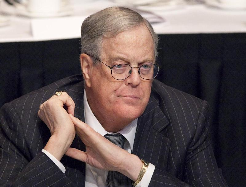 FILE - In this April 11, 2011 file photo, David Koch, executive vice president of Koch Industries, attends a meeting of  the Economic Club of New York. Koch is donating a record $35 million to the Smithsonian's National Museum of Natural History to build a new dinosaur hall on the National Mall. The Smithsonian is announcing the gift Thursday from the executive vice president of Koch Industries Inc. of Wichita, Kan. It is the single largest gift in the museum's 102-year history. (AP Photo/Mark Lennihan, File)