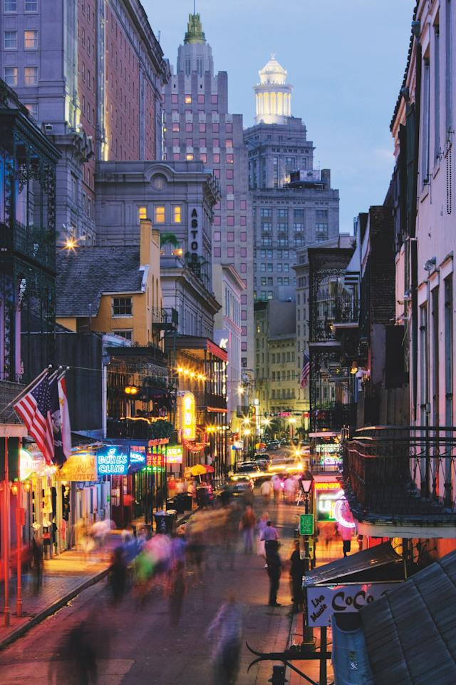 Bourbon Street at night in New Orleans.