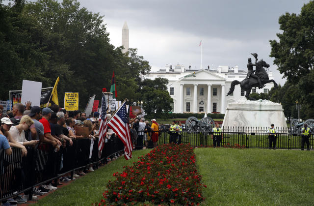 "<p>Demonstrators march near the White House on the one year anniversary of the Charlottesville ""Unite the Right"" rally, Sunday, Aug. 12, 2018, in Washington. (AP Photo/Jacquelyn Martin) </p>"