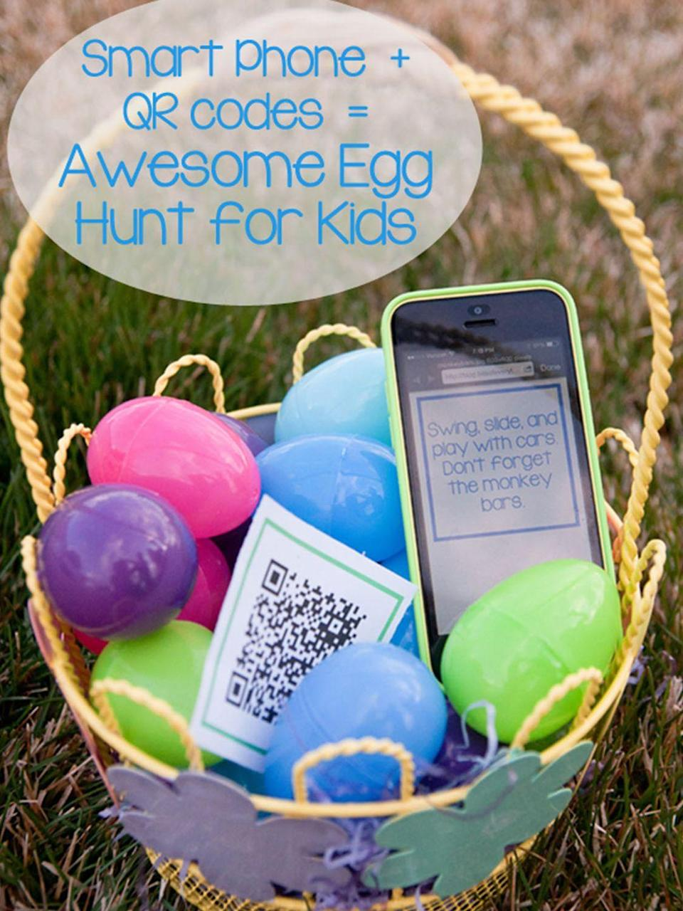 "<p>If your teens are at the stage where they think they're too cool for Easter egg hunts, this high-tech hunt will change their tune. </p><p><em><a href=""http://blog.bitsofeverything.com/2014/04/smart-phone-easter-egg-hunt-older-kids.html/2"" rel=""nofollow noopener"" target=""_blank"" data-ylk=""slk:Get the tutorial from Bits of Everything »"" class=""link rapid-noclick-resp"">Get the tutorial from Bits of Everything »</a></em> </p>"