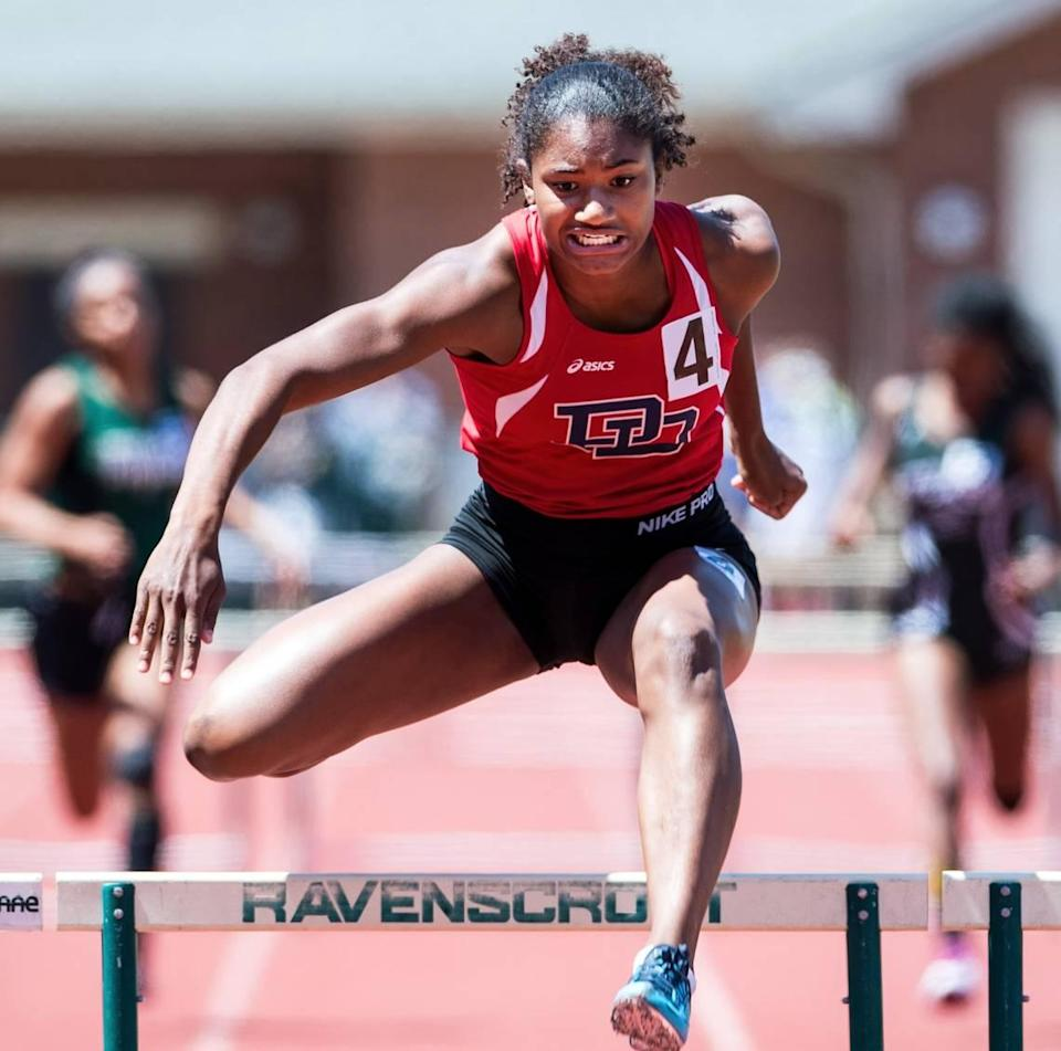 In 2014, as a high school sophomore, future Olympian Anna Cockrell competed for Providence Day in the hurdles.