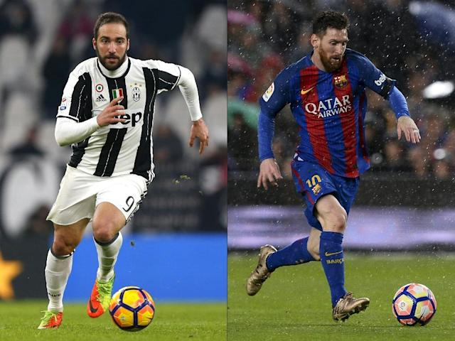 Juventus forward Gonzalo Higuain (L) and Barcelona forward Lionel Messi pictured in a combination of image created on April 10, 2017 (AFP Photo/Marco BERTORELLO, Josep LAGO)