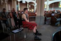 The audience, almost exclusively men, are by and large not regular churchgoers (AFP/John MACDOUGALL)