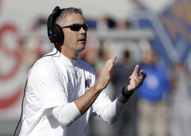 Mike Norvell has led No. 20 Memphis to a 10-1 record. (AP)