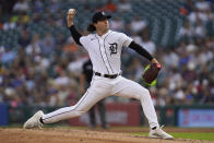 Detroit Tigers pitcher Casey Mize throws against the Boston Red Sox in the second inning of a baseball game in Detroit, Wednesday, Aug. 4, 2021. (AP Photo/Paul Sancya)