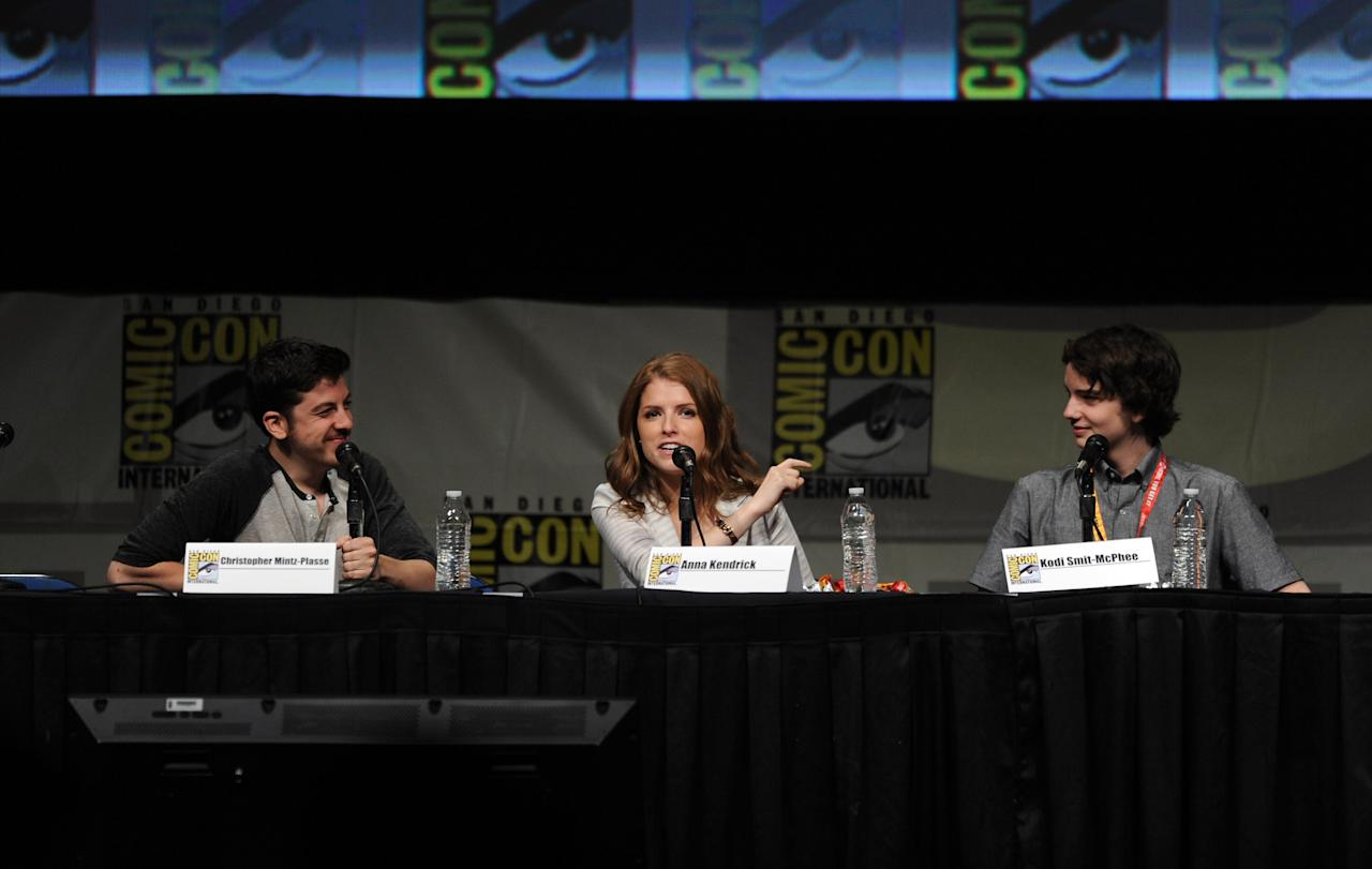 "SAN DIEGO, CA - JULY 13:  Actors Christopher Mintz-Plasse, Anna Kendrick, and Kodi Smit-McPhee speak at the ""Paranorman: Behind The Scenes"" panel during Comic-Con International 2012 at San Diego Convention Center on July 13, 2012 in San Diego, California.  (Photo by Kevin Winter/Getty Images)"