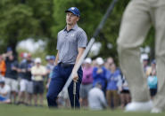 Jordan Spieth reacts to missing a putt on the first hole during round-robin play at the Dell Technologies Match Play Championship golf tournament, Friday, March 29, 2019, in Austin, Texas. (AP Photo/Eric Gay)