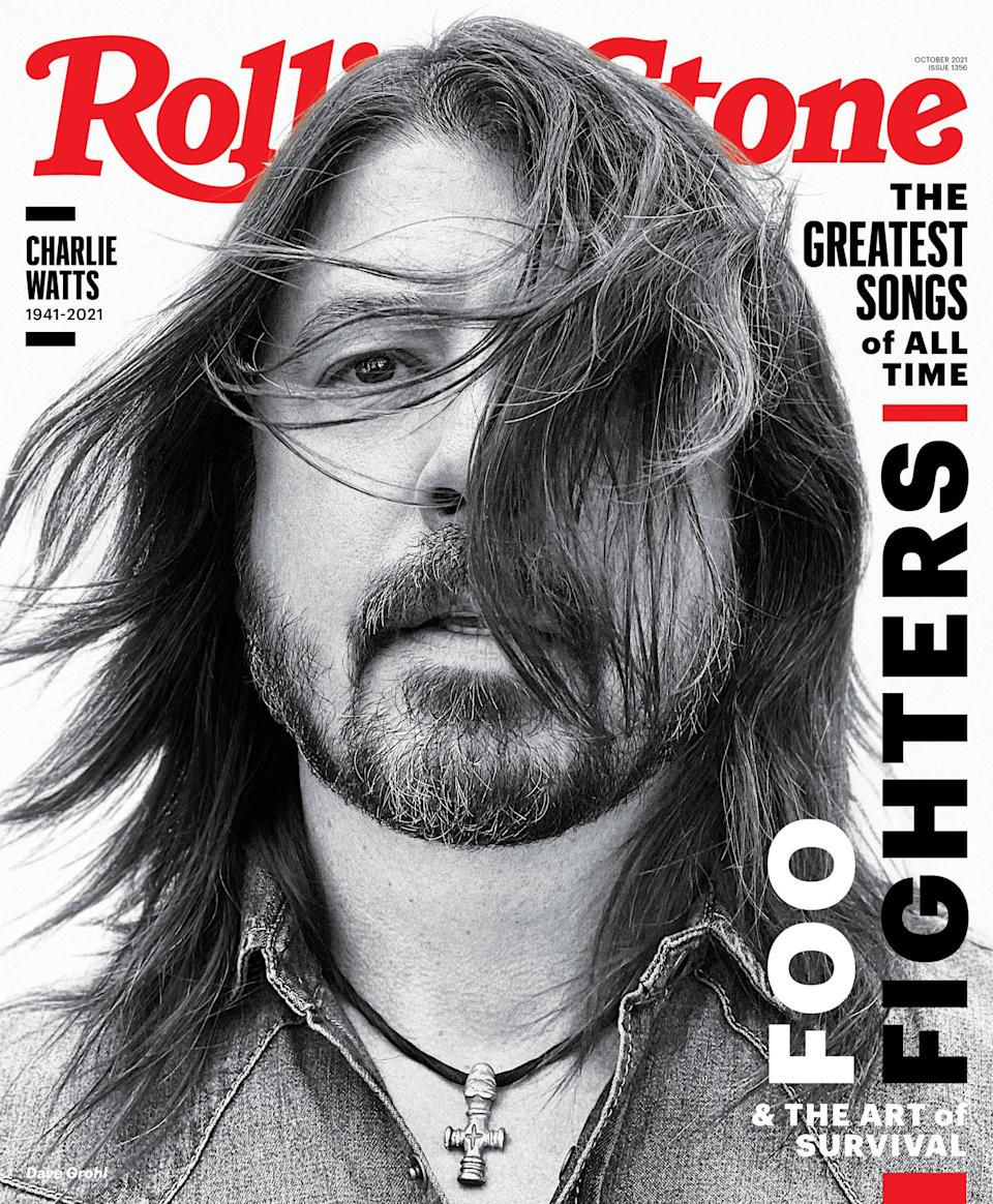 Dave Grohl, photographed in Los Angeles on June 10th, 2021. - Credit: Photograph by Jason Nocito for Rolling Stone. Grooming by Gina Monaci. Styling by Stephanie Tricola. Grohl's shirt by Saint Laurant at Mr. Porter. Stylist assistant: Natasha Bock.