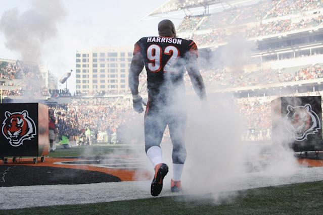 CINCINNATI, OH - OCTOBER 27: James Harrison #92 of the Cincinnati Bengals takes the field for the game against the New York Jets at Paul Brown Stadium on October 27, 2013 in Cincinnati, Ohio. The Bengals defeated the Jets 49-9. (Photo by John Grieshop/Getty Images)