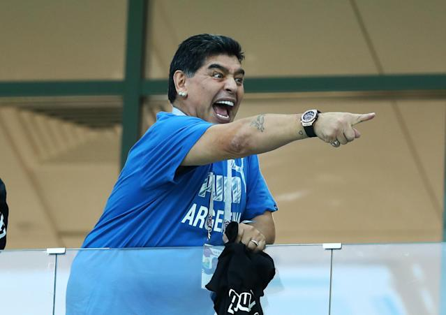<p>Former Argentina player and captain Diego Armando Maradona in the stands at Nizhny Novgorod Stadium, Russia on June 21, 2018.<br> (Photo by Matteo Ciambelli/NurPhoto via Getty Images) </p>