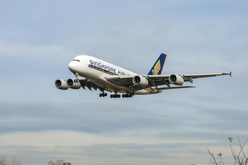 Singapore Airlines Airbus A380, specifically A380-841 aircraft as seen on final approach landing at New York JFK, John F. Kennedy International Airport on 14 November 2019. The wide-body, double-decker long haul airplane has the registration 9V-SKJ and is powered by 4x RR ( Rolls Royce ) jet engines. Singapore SQ, SIA is the flag carrier airline of Singapore, with a base in its hub Changi Airport SIN WSSS, a member of Star Alliance aviation alliance. The airline has been awarded by Skytrax as Best Airline of the World. (Photo by Nicolas Economou/NurPhoto via Getty Images)