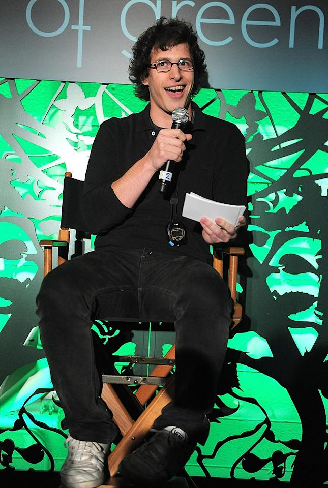 """The moderator of the debate, Andy Samberg, told PopSugar.com how he stays green in his daily life: """"Recycle. I also mix yellow and blue."""" Jordan Strauss/<a href=""""http://www.wireimage.com"""" target=""""new"""">WireImage.com</a> - July 8, 2010"""