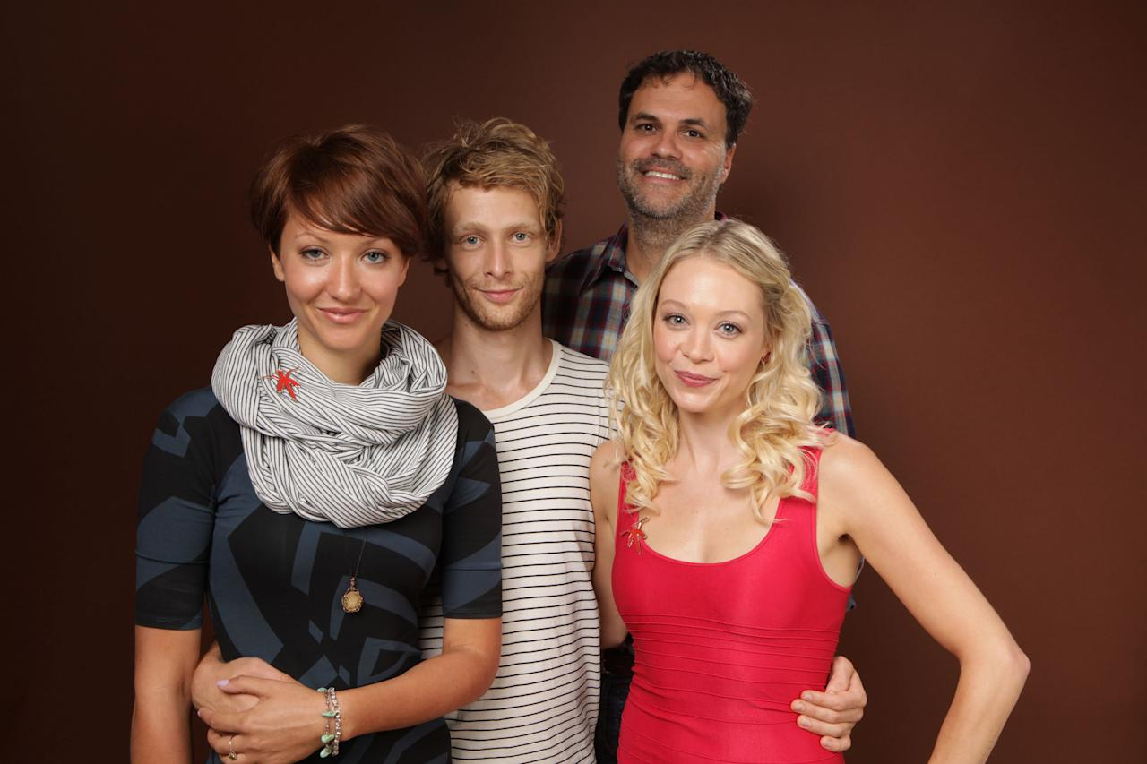 "TORONTO, ON - SEPTEMBER 13:  Actress Gretchen Lodge, Johnny Lewis, director Eduardo Sanchez and actress Alexandra Holden of ""Lovely Molly"" poses during the 2011 Toronto International Film Festival at the Guess Portrait Studio on September 13, 2011 in Toronto, Canada.  (Photo by Matt Carr/Getty Images)"