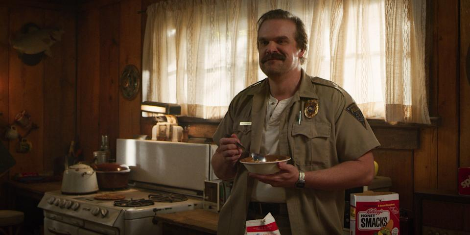 """Sheriff Jim Hopper (David Harbour) goes to some dark places in the upcoming fourth season of Netflix's """"Stranger Things."""""""
