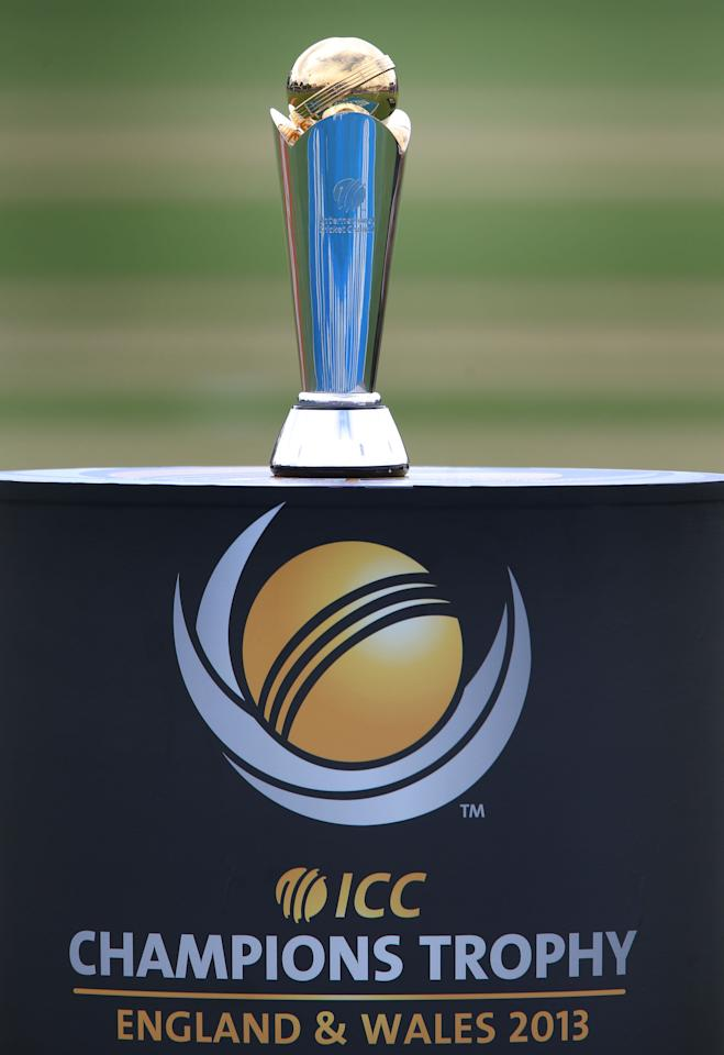 The ICC Champions Trophy on display at the SWALEC Stadium, before South Africa v India Cardiff.