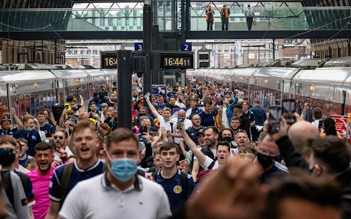 Scotland fans arrive at King's Cross Station - Rob Pinney/Getty