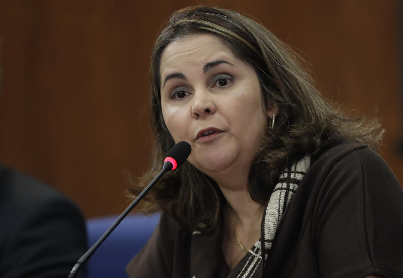 Eugenia Augusta Gonzaga, former president of a commission investigating crimes committed during the Brazil's dictatorship, gives a press conference in Sao Paulo, Brazil, Thursday, Aug. 1, 2019. Brazilian President Jair Bolsonaro's government is replacing more than half of the members of the commission investigating disappearances and murders during the dictatorship, including its president. (AP Photo/Andre Penner)
