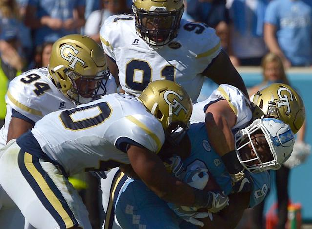 Georgia Tech announced on Sunday that defensive tackle Brandon Adams, who wore No. 90, has died. (Photo by Grant Halverson/Getty Images)