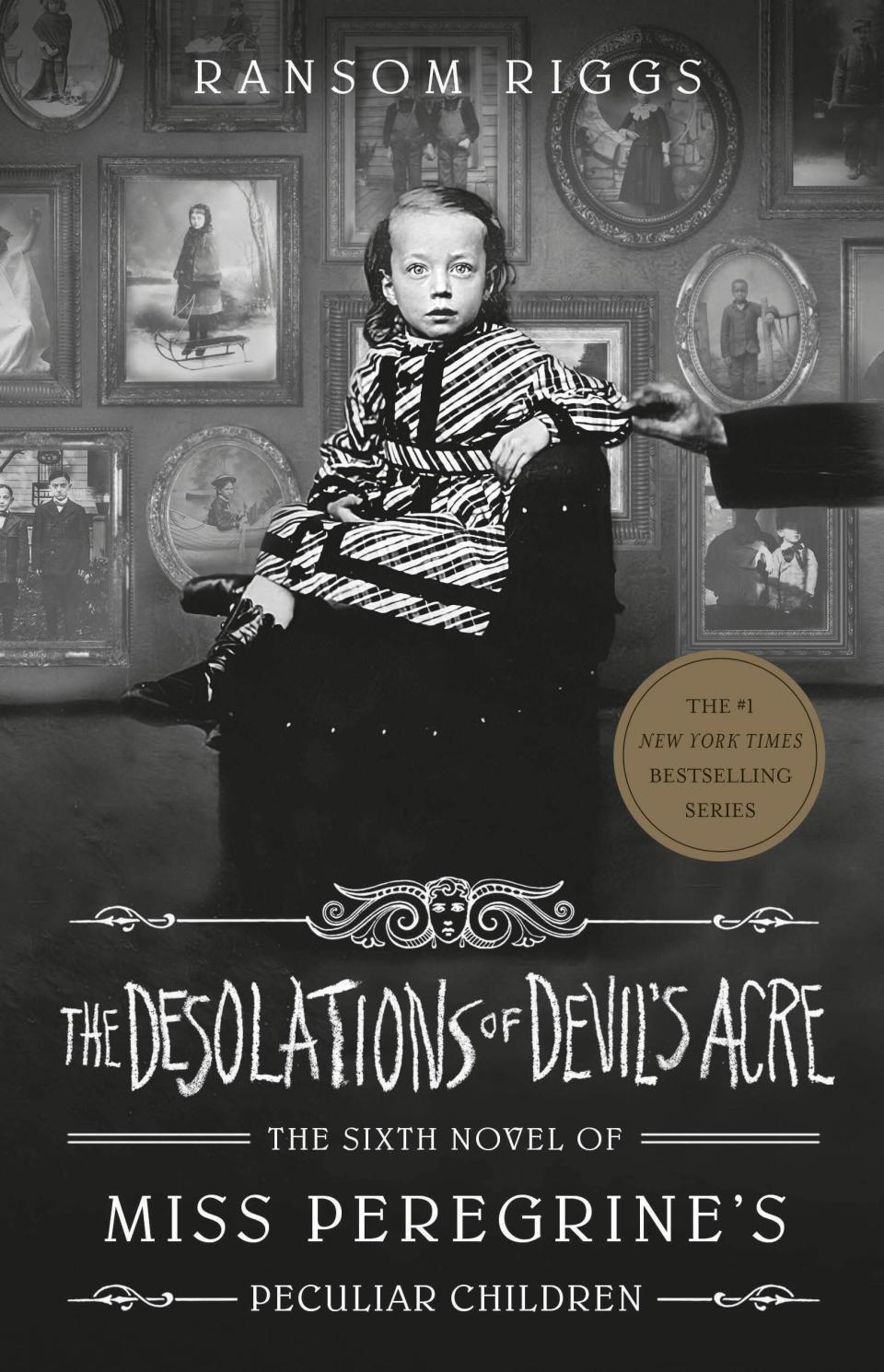 """This cover image released by Penguin Young Readers shows """"The Desolations of Devil's Acre"""" by Ransom Riggs, the final installment of the bestselling Miss Peregrine's Peculiar Children series, releasing Feb. 23. (Penguin Young Readers via AP)"""