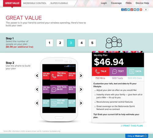 Screenshot showing how to set up Virgin Mobile's Custom plan