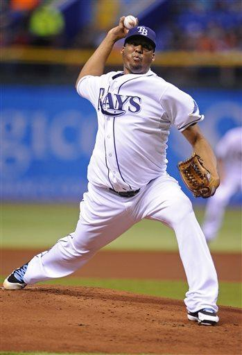 Tampa Bay Rays starting pitcher Roberto Hernandez delivers to the Minnesota Twins during the first inning of a baseball game Monday, July 8, 2013, in St. Petersburg, Fla. (AP Photo/Brian Blanco)