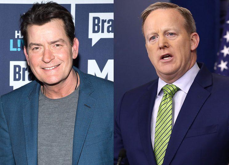 Charlie Sheen is facing off against Sean Spicer and his green tie. (Photo: Getty Images)