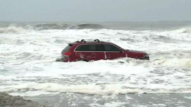 PHOTO: A Jeep is stuck in the surf at Myrtle Beach, S.C. as Hurricane Dorian hits the Carolinas. (WPDE)