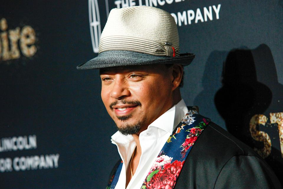 """FILE -  In a September 23, 2017 file photo, actor Terrence Howard attends Fox's celebration of the """"Empire"""" and """"Star"""" television shows at One World Observatory in New York. Howard, who plays Jussie Smollett's father on 'Empire,' has expressed support for his fellow cast member on social media. Smollett, who is black and gay, is charged with filing a false police report in January 2019 when he said he was attacked in Chicago by two masked men who used derogatory language and put a rope around his neck.(Photo by Andy Kropa/Invision/AP, File)"""