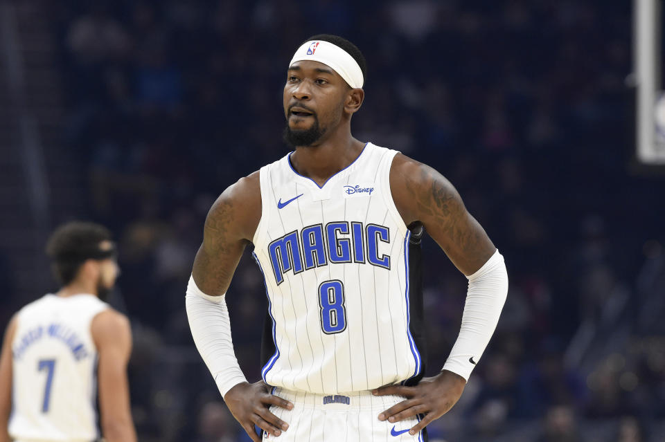 Terrence Ross waits for a play during a game with his hands on his hips.