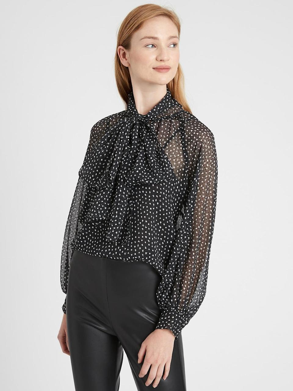 <p>We love an elegant tie-neck blouse as it channels a romantic era style. Pair this <span>Banana Republic Velvet Dot Tie-Neck Blouse</span> ($33, originally $99) with a pair of leather pants for an edgy take.</p>