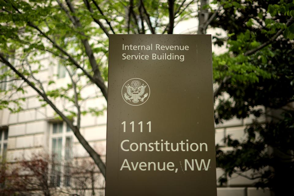 WASHINGTON, DC - APRIL 27: The Internal Revenue Service headquarters building appeared to be mostly empty April 27, 2020 in the Federal Triangle section of Washington, DC. The IRS called about 10,000 volunteer employees back to work Monday at 10 of its mission critical locations to work on taxpayer correspondence, handling tax documents, taking telephone calls and other actions related to the tax filing season. (Photo by Chip Somodevilla/Getty Images)