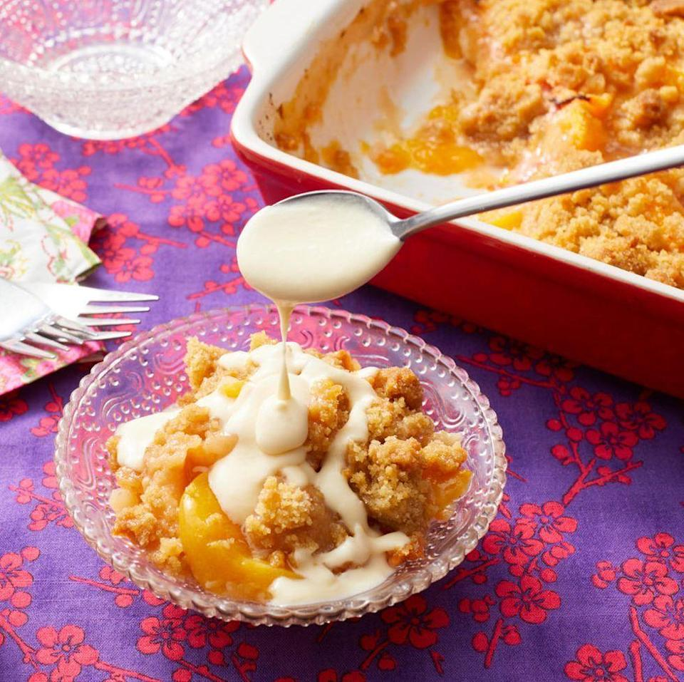 """<p>You can't go wrong with a nice peach crisp, especially if it's covered in an irresistible maple-cream sauce.</p><p><a href=""""https://www.thepioneerwoman.com/food-cooking/recipes/a10230/peach-crisp-wit/"""" rel=""""nofollow noopener"""" target=""""_blank"""" data-ylk=""""slk:Get Ree's recipe."""" class=""""link rapid-noclick-resp""""><strong>Get Ree's recipe.</strong></a></p><p><a class=""""link rapid-noclick-resp"""" href=""""https://go.redirectingat.com?id=74968X1596630&url=https%3A%2F%2Fwww.walmart.com%2Fsearch%2F%3Fquery%3Dpioneer%2Bwoman%2Bbaking%2Bpan&sref=https%3A%2F%2Fwww.thepioneerwoman.com%2Ffood-cooking%2Frecipes%2Fg36382592%2Fpeach-desserts%2F"""" rel=""""nofollow noopener"""" target=""""_blank"""" data-ylk=""""slk:SHOP BAKING PANS"""">SHOP BAKING PANS</a></p>"""