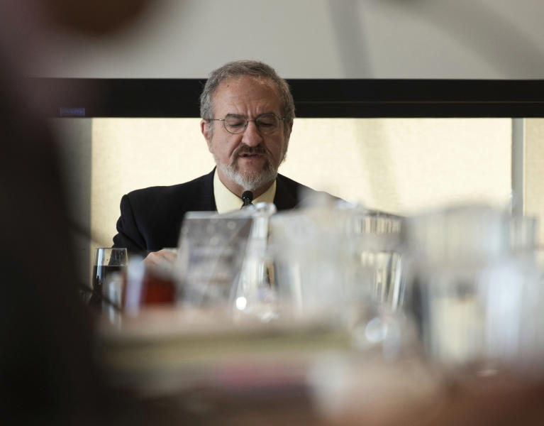 UM President Mark Schlissel addresses recent sexual misconduct from former Provost Martin Philbert at the Board of Regents meeting on Thursday, Feb. 20, 2020. Philbert was placed on paid leave in January following accusations of sexual misconduct.   (Jenna Kieser/Ann Arbor News via AP)