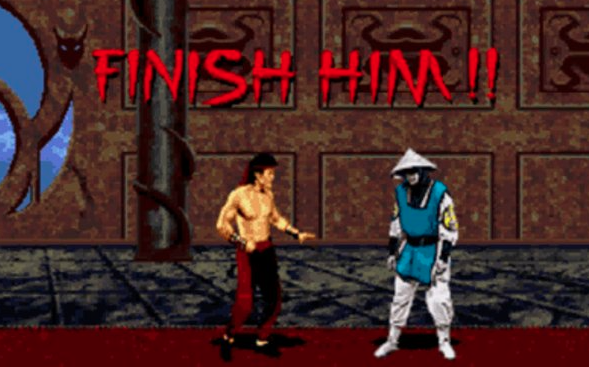 Two cartoon characters in the Mortal Kombat game stand across from one another with the words 'Finish Him' above their heads