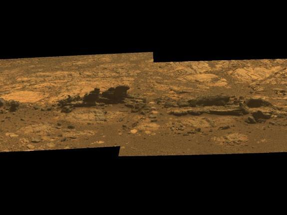 Rock fins up to about 1 foot (30 centimeters) tall dominate this scene from the panoramic camera (Pancam) on NASA's Mars Exploration Rover Opportunity. This image was taken Aug. 23, 2012.