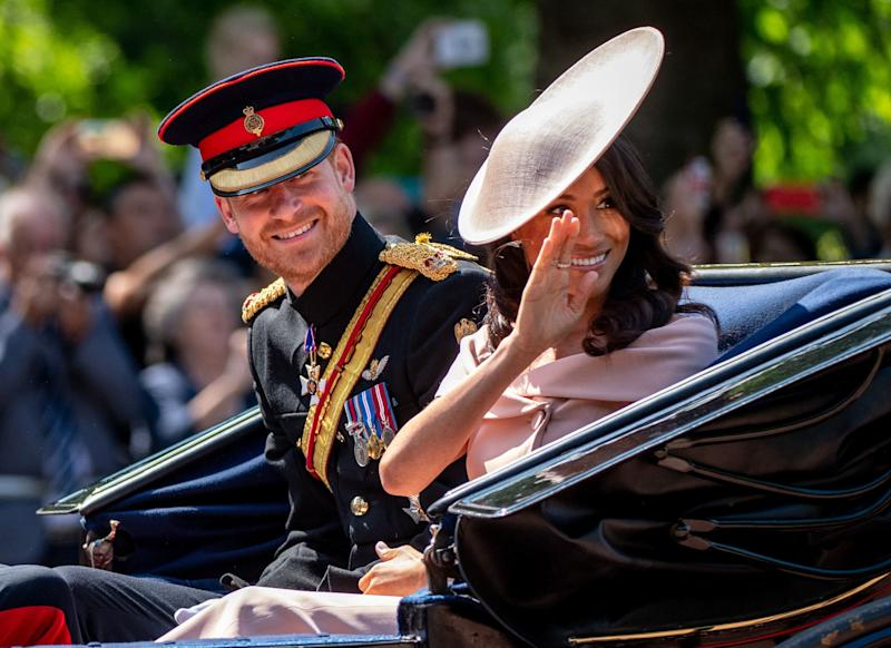 Meghan Markle joined the royal family for her first Trooping the Colour. (Photo: Getty Images)