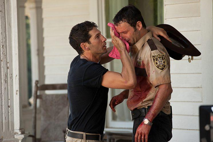 Jon Bernthal as Shane Walsh and Andrew Lincoln as Rick Grimes in AMC's The Walking Dead. (Photo Credit: Bob Mahoney/AMC)
