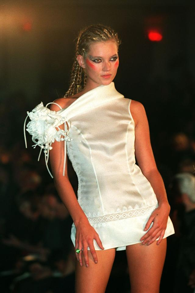 <p>Kate Moss on the Antonio Berardi catwalk.</p>