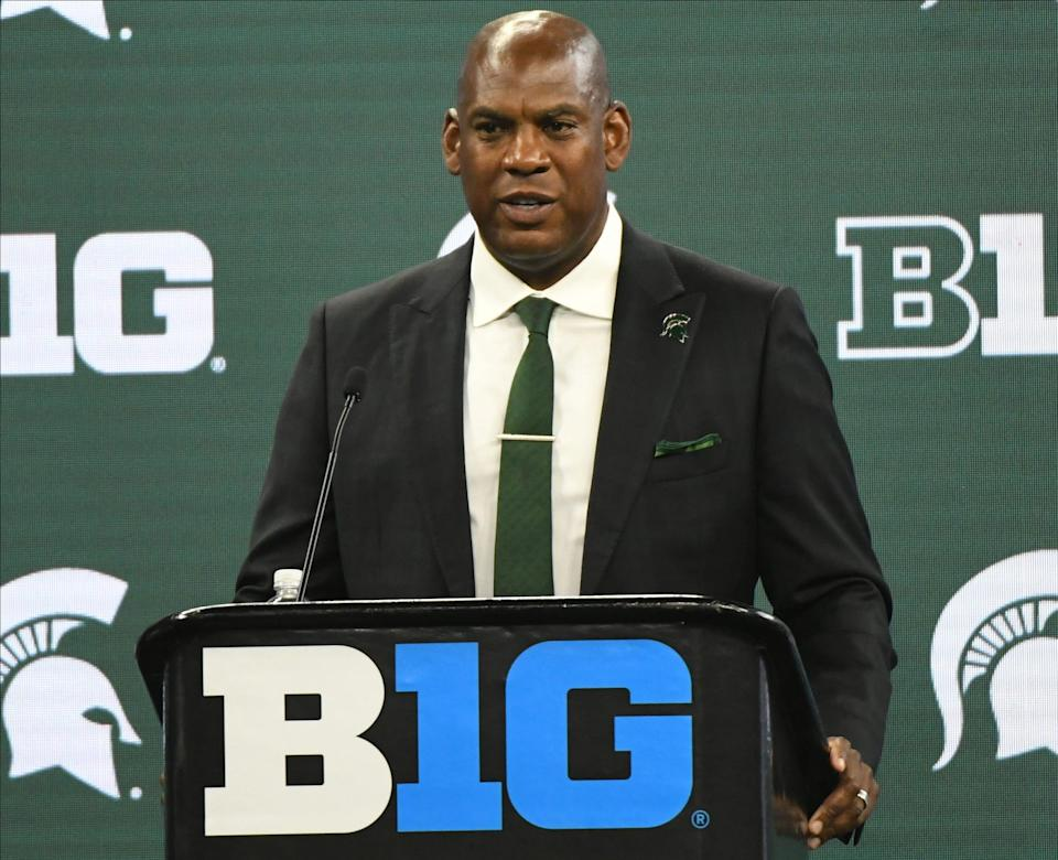 Michigan State coach Mel Tucker speaks to the media during the Big Ten media days in Indianapolis on Friday, July 23, 2021.