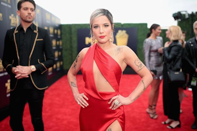 Halsey suffers from endometriosis, pictured here in June 2018 at the MTV Movie and TV Awards (Getty)