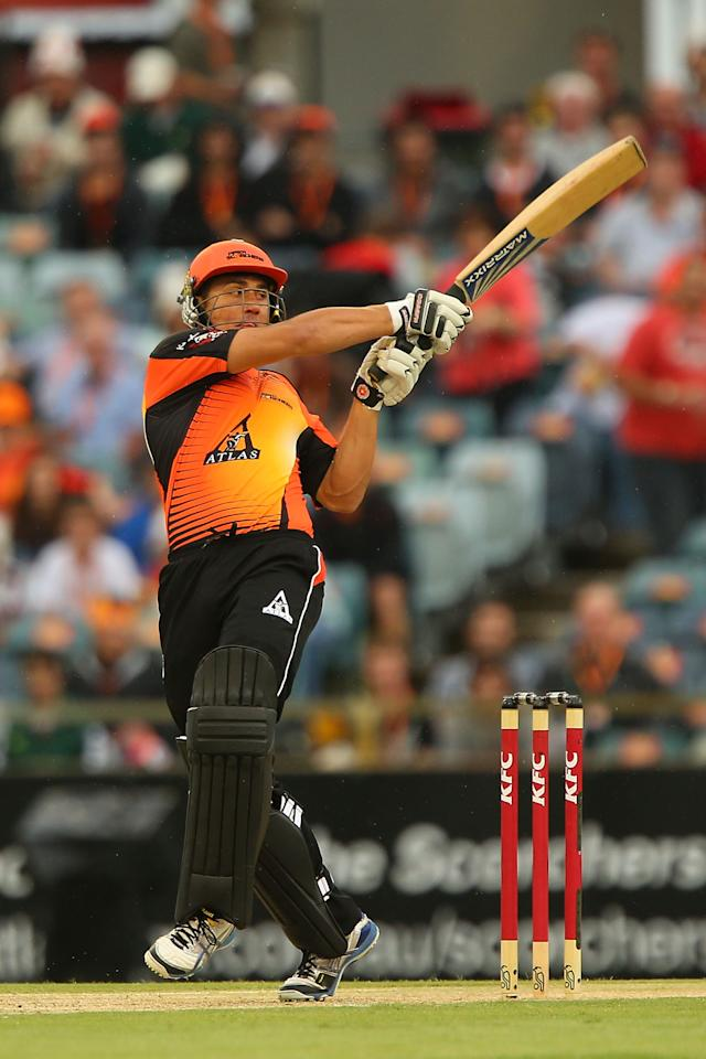PERTH, AUSTRALIA - DECEMBER 12:  Marcus Stoinis of the Scorchers hits out during the Big Bash League match between the Perth Scorchers and the Melbourne Stars at WACA on December 12, 2012 in Perth, Australia.  (Photo by Paul Kane/Getty Images)