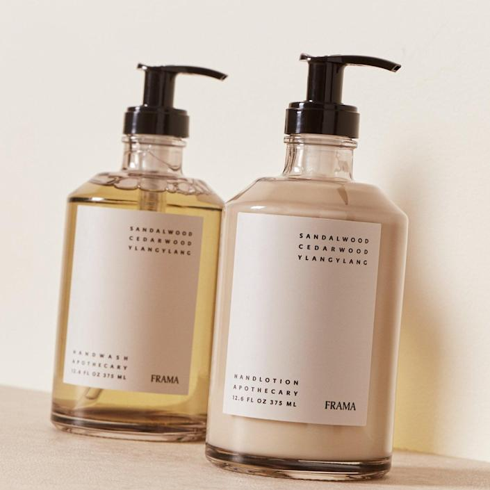 """Every first home deserves a high-quality soap and lotion set. Mindful design and 100% natural ingredients make this duo from Goodee fit the bill. The nourishing, hydrating products' main ingredients are sandalwood, cedar wood, and ylang-ylang. $100, Goodee. <a href=""""https://www.goodeeworld.com/collections/all/products/hand-wash-and-lotion-set"""" rel=""""nofollow noopener"""" target=""""_blank"""" data-ylk=""""slk:Get it now!"""" class=""""link rapid-noclick-resp"""">Get it now!</a>"""